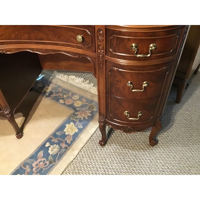 19th century style walnut burl kidney shaped desk.Beautiful refinished solid heavy wood Desk drawer has sliding divided...