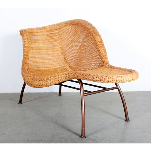 Boho Chic Vintage Mid Century Modern Wicker Chaise Lounge - Pair Available For Sale - Image 3 of 9