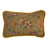 Image of Traditional Golden Velvet With Floral Needlepoint Rectangular Pillow For Sale