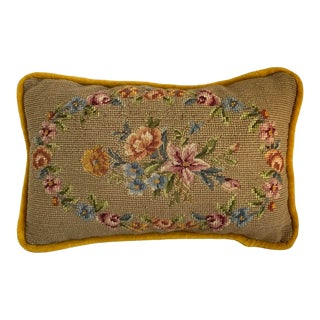 Traditional Golden Velvet With Floral Needlepoint Rectangular Pillow For Sale