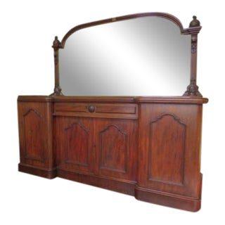 Late 19th Century Vintage English Mahogany 4 Door Server Buffet For Sale