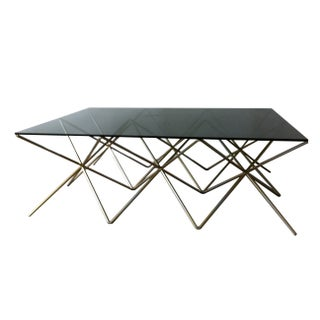 Wire Steel & Glass Coffee Table For Sale
