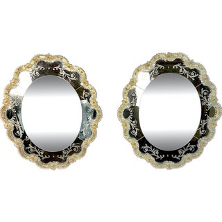 Murano Glass Oval Mirrors With Gold Glass Accents - a Pair For Sale