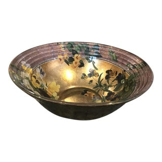 Large Decorative Floral Decoupage Glass Bowl Artist Signed by Scott Porter Pansies Gold For Sale