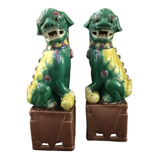 Vintage Green and Yellow Foo Dogs - a Pair For Sale
