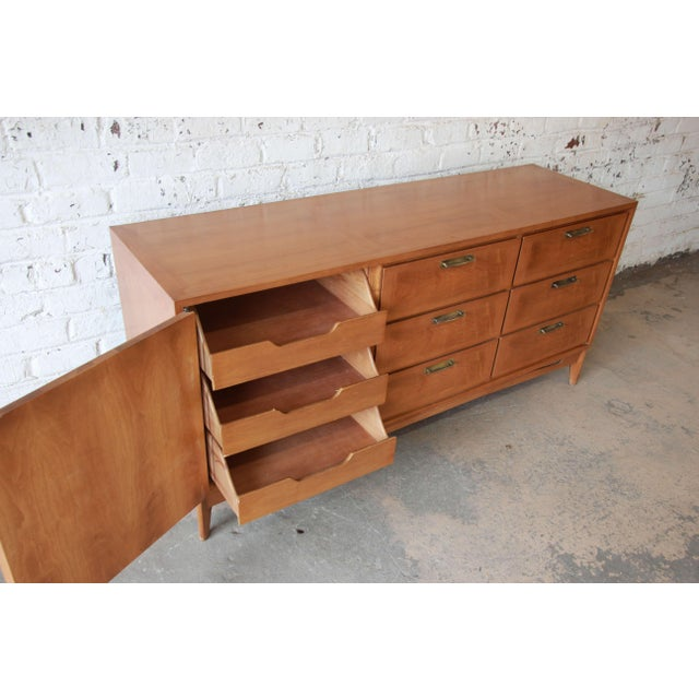 Metal Mid-Century Modern Mahogany Parquetry Credenza by Red Lion For Sale - Image 7 of 11
