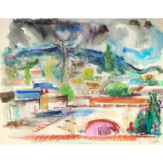 Vibrant Abstracted City Scene Mid Century Watercolor For Sale