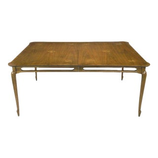 Early 1960s Mastercraft Walnut & Burl Amboyna Marquerty Top Dining Table For Sale