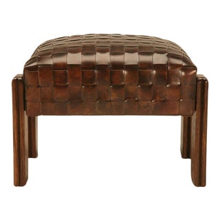 Chic and Unique Vintage French Handwoven Leather Ottoman For Sale