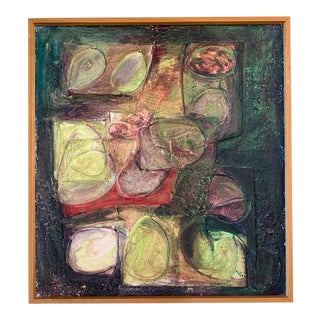Vintage 1960s Mid-Century Modern Abstract Mixed Media Painting For Sale