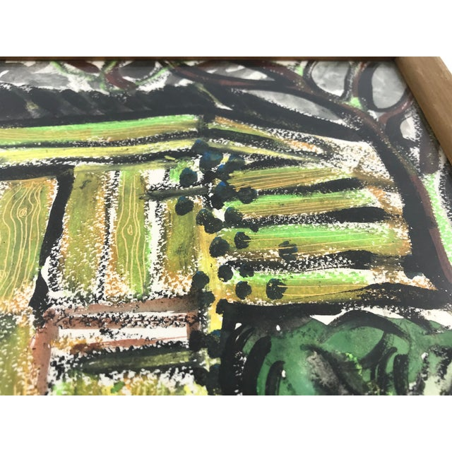 """Green 1996 Small English Abstract """"Green House"""" Framed Painting For Sale - Image 8 of 11"""