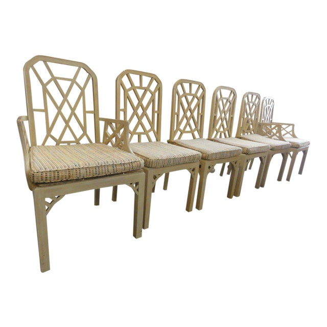 Palm Beach Regency Fretwork Chairs - Set of 6 - Image 1 of 11