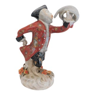1950s Chinoiserie Ceramic Monkey With Jacket and French Horn For Sale