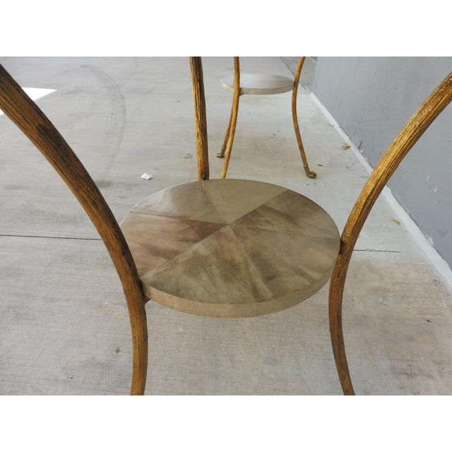 Parcel Gilt Wrought Iron and Goat Skin Tables - a Pair For Sale - Image 12 of 13