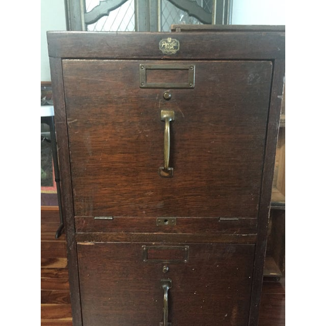 Antique Pacific Desk Co. Wooden File Cabinet - Image 3 of 6
