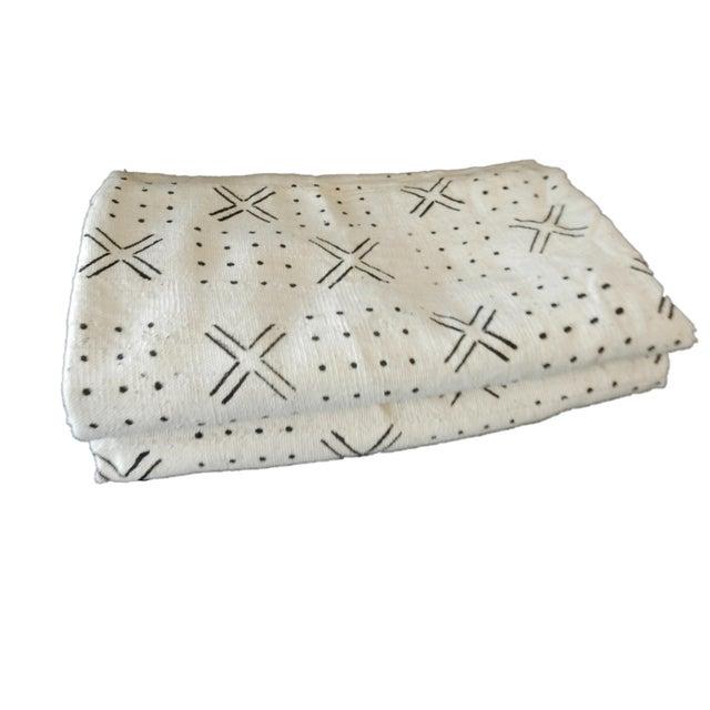 White Mali White & Black Mud Cloth Fabrics - A Pair For Sale - Image 8 of 8