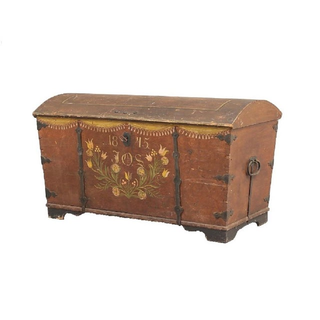 Antique Swedish Painted Chest, 1845 For Sale - Image 10 of 10