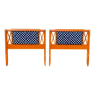 Vintage Wood Twin Headboards Orange With Dots - a Pair For Sale