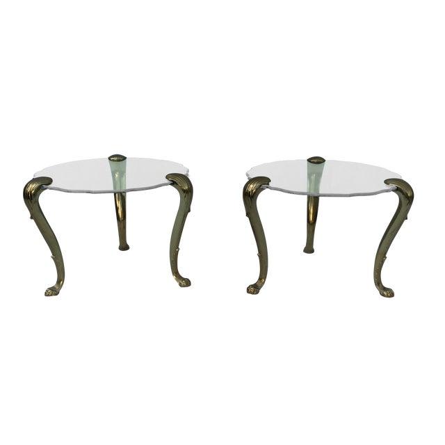 1970's Modern Tripod Brass Side Tables - 2 - Image 1 of 11
