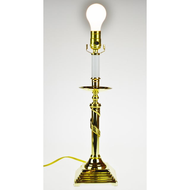 Vintage Brass Candlestick Spiral Twist Column Table Lamp Condition consistent with age and history. Please use zoom...