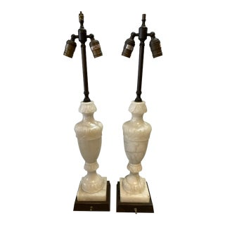 Alabaster Table Lamps Urns, Pair For Sale