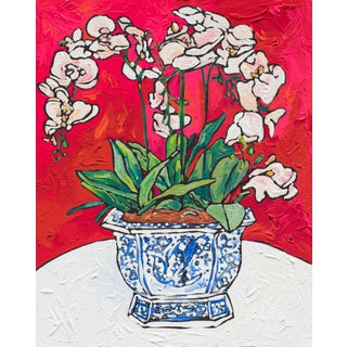 Orchid in Chinoiserie Bird Pot Matisse Inspired Floral Still Life Painting For Sale
