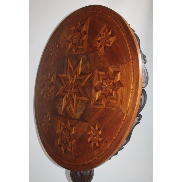 Late 19th Century Antique Table With 19th Century Marque Inlaid Stars Top For Sale - Image 5 of 11
