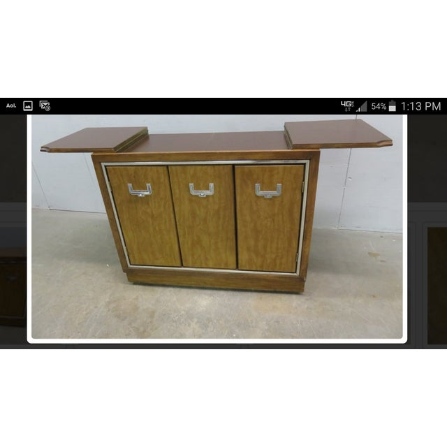 Mid-Century Modern Credenza Flip Top Burl Style For Sale - Image 10 of 10