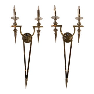 Myran Allen Luxury Lighting Modern Nickel Finished Brass Omega Sconces - a Pair For Sale