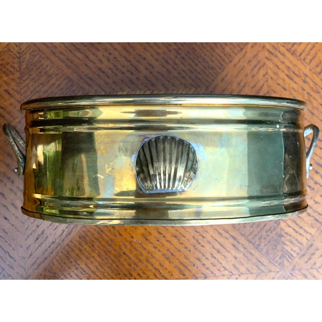 Metal Vintage Brass Scalloped Shell Planter For Sale - Image 7 of 11