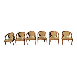 Six Antique French Carved Walnut Arm Chairs With Mohair Plush Upholstery For Sale