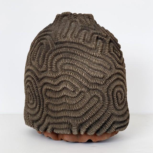 Textured Studio Pottery Terracotta Vase For Sale - Image 4 of 13