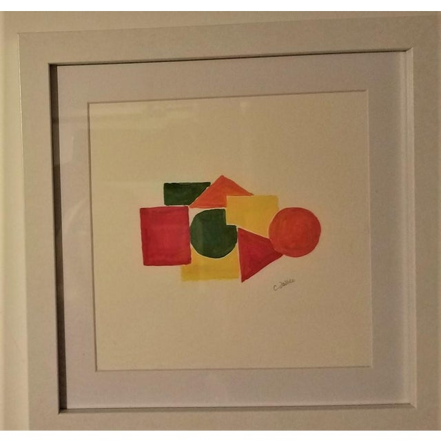 Wood Geometric Hand Painted Framed Acrylics by Christine Frisbee - Set of 6 For Sale - Image 7 of 9