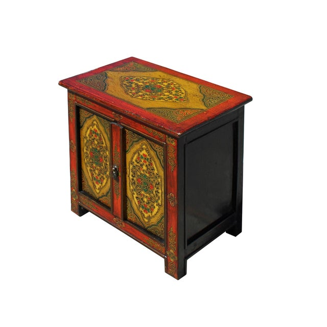 2010s Chinese Multi-Color Tibetan Flower Motif Small Table Cabinet For Sale - Image 5 of 7