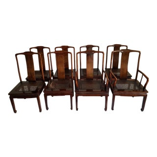 1970s Asian Modern Henredon Mahogany Dining Chairs - Set of 8
