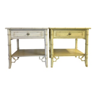 Vintage Thomasville Faux Bamboo Fretwork Nightstands-A Pair For Sale