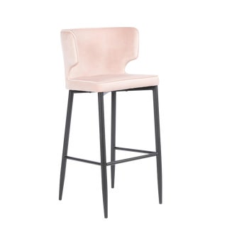 Kayla Upholstered Blush Pink Bar Chair For Sale
