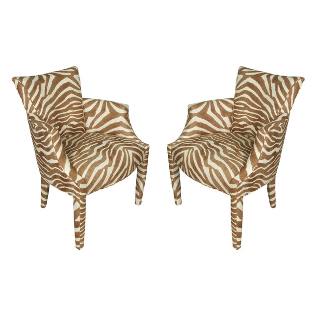 Donghia Vintage Zebra Linen Fabric Donghia Chairs - a Pair For Sale - Image 4 of 4