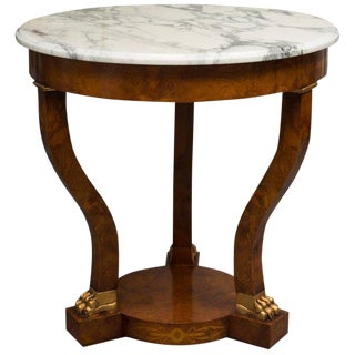 Empire Style Walnut Circular Table For Sale