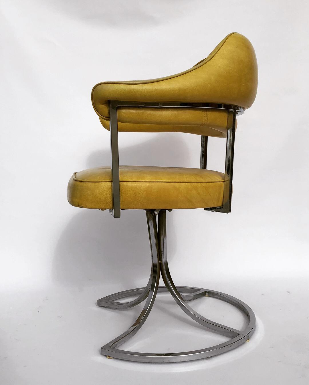 Beau Mid Century Modern Yellow Vinyl Retro Arm Chairs   A Pair For Sale   Image