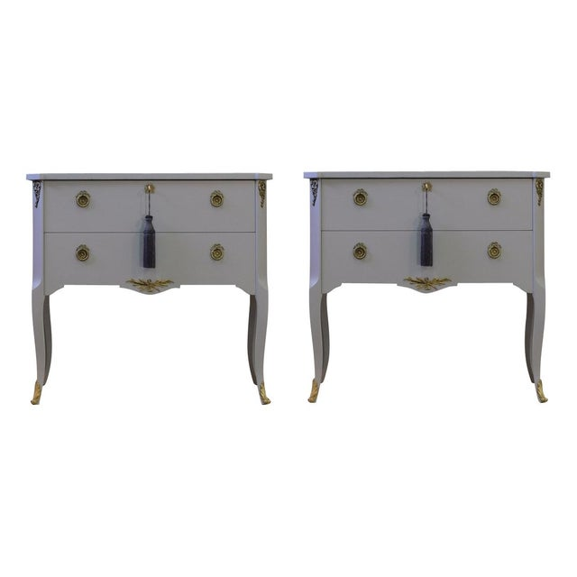 Gustavian Hauptbyrå with marble slab and redesigned with a soft gray custom lacquered finish. Fine original fittings in...