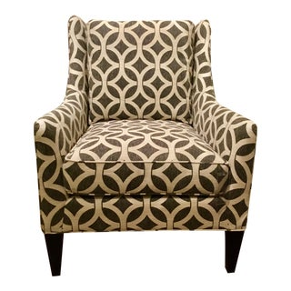 Pearson Co. Modern Geometric Gray and White Gloria Club Chair For Sale