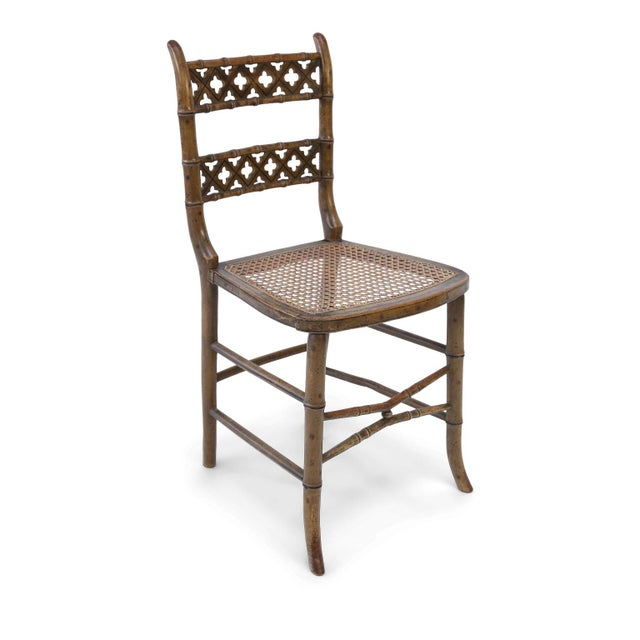 Regency Pair of Regency Faux Bamboo Chairs For Sale - Image 3 of 9