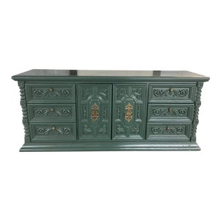 1970's Spanish Style Carved Credenza For Sale