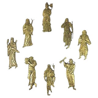 """1940s Chinoiserie Figurative """"The Eight Immortals"""" Brass Wall Decor - Set of 8 For Sale"""