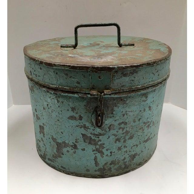 Vintage Painted Metal Oval Hat Box - Image 2 of 8