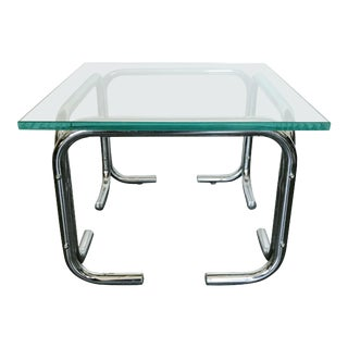 1970s Mid-Century Modern Chrome and Glass Side Table For Sale