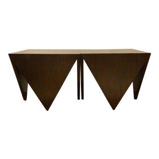 John Richard Art Deco Inspired Macassar Ebony Finished Wood Amara Point Side Tables Pair