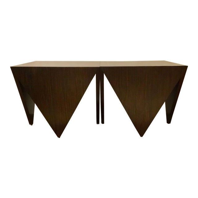 John Richard Art Deco Inspired Macassar Ebony Finished Wood Amara Point Side Tables Pair For Sale