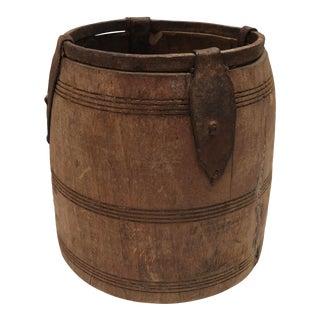 Antique Primitive Handmade Wood and Metal Grain Bucket
